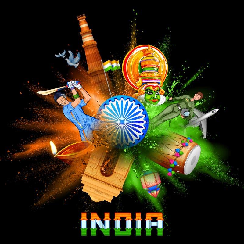 Indien bakgrund i tricolor och Ashoka Chakra med pulverfärgexplosion royaltyfri illustrationer