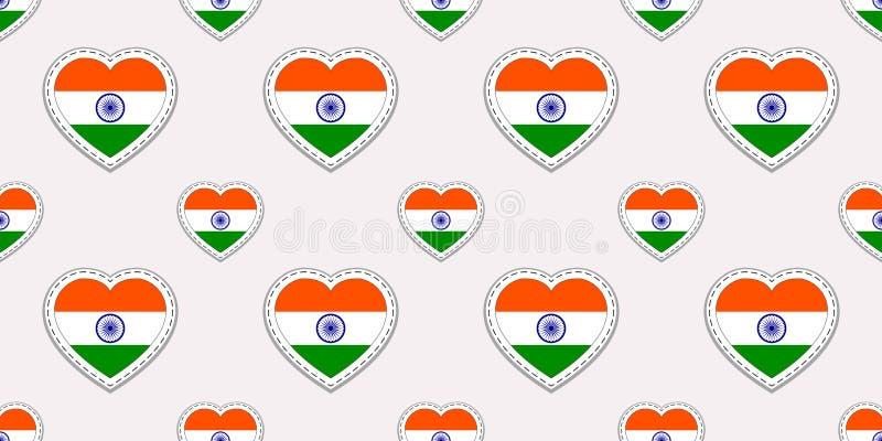 Indien bakgrund Sömlös modell för indisk flagga Vektorstikers Förälskelsehjärtasymboler Bra val för sportsidor, resande, LAN royaltyfri illustrationer