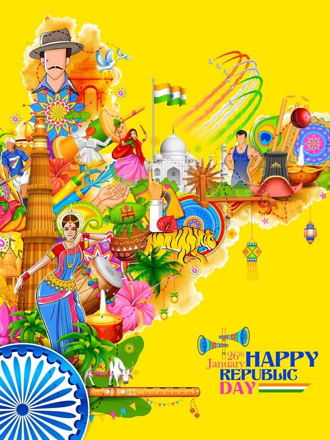 Indien bakgrund som visar dess oerhörda kultur och mångfald med monumentet, dansfestival vektor illustrationer