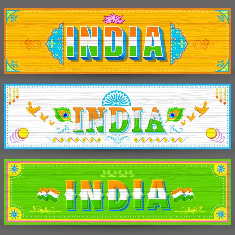 Indien baner i lastbilmålarfärgstil vektor illustrationer