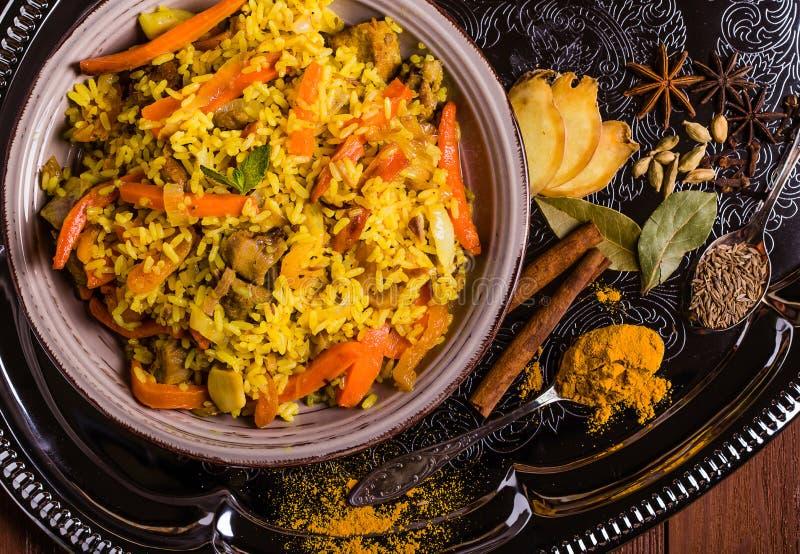Indien Biryani avec le poulet et les épices photo stock