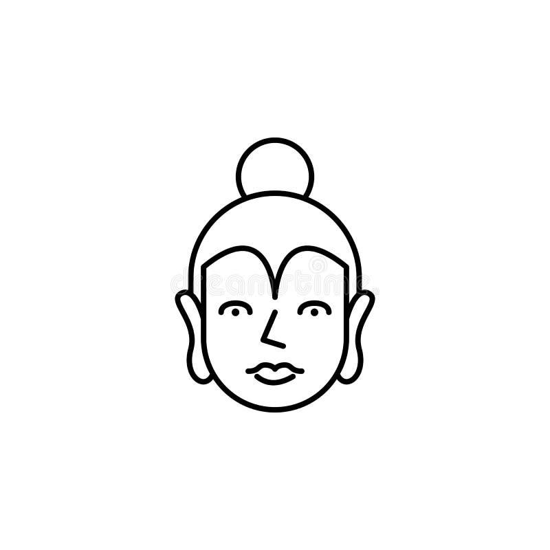 Indien Buddhasymbol Beståndsdel av den Indien kultursymbolen Tunn linje symbol för websitedesignen och utveckling, app-utveckling stock illustrationer