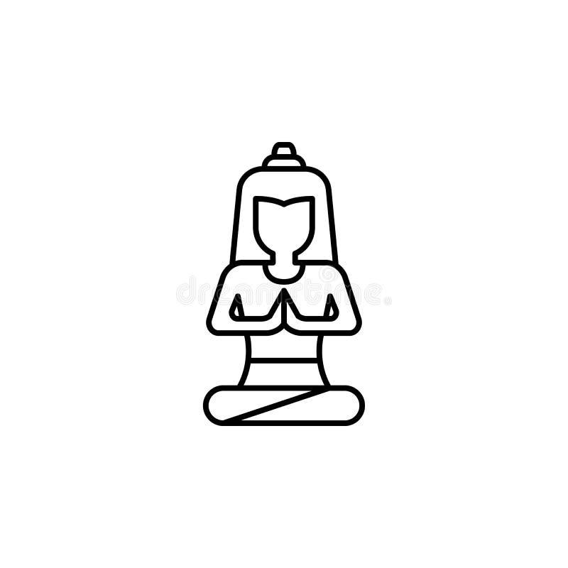 Indien buddismsymbol Beståndsdel av den Indien kultursymbolen Tunn linje symbol för websitedesignen och utveckling, app-utvecklin vektor illustrationer