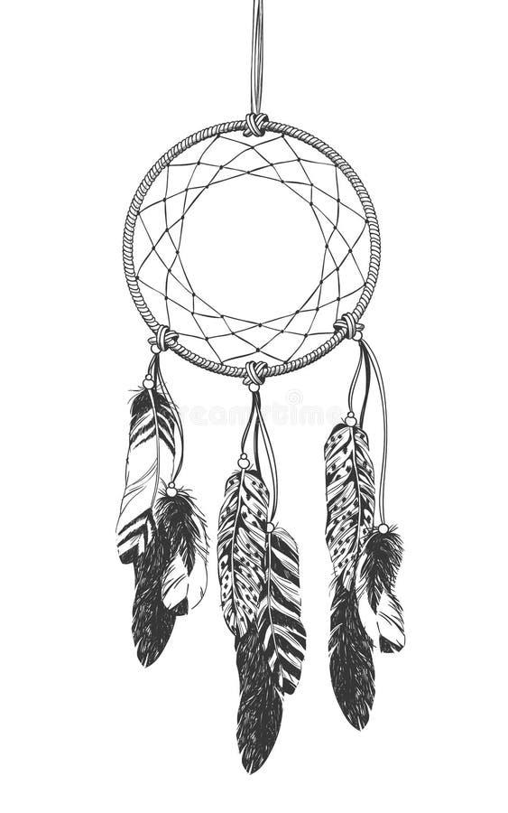 Indien d'Amerique indigène Dreamcatcher avec des plumes illustration stock