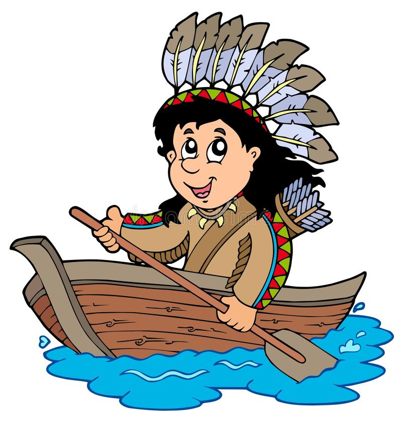 Indien dans le bateau en bois illustration de vecteur
