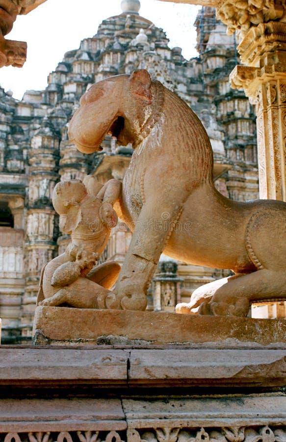 Indien, das Mädchen mit dem Löwe. stockfotografie