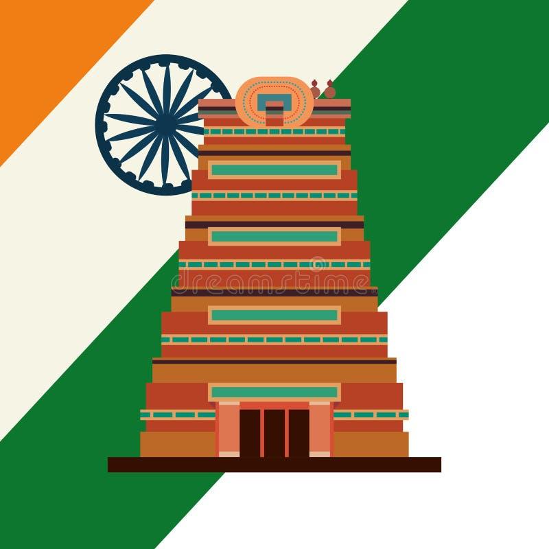 Indien de drapeau de monument de ville de Chennai illustration libre de droits