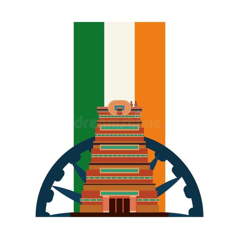 Indien de drapeau de monument de ville de Chennai illustration de vecteur