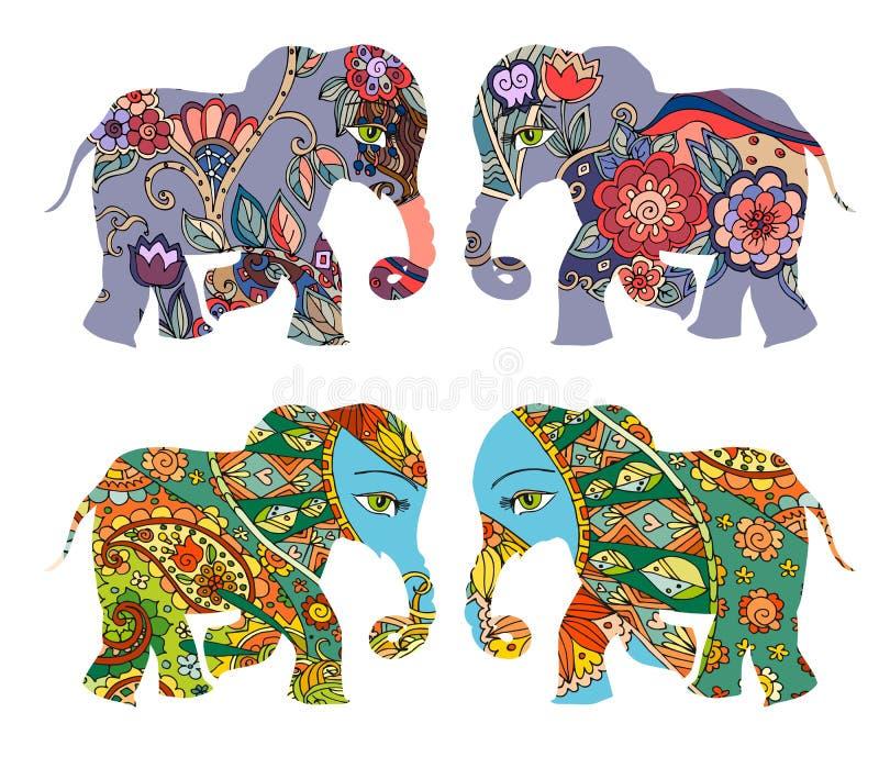 Indien Dekorative Schattenbilder Schöne Elefanten mit Blumen auf weißem Hintergrund stock abbildung