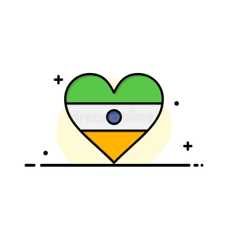 Indien, drapeau, coeur, affaires Logo Template de drapeau de coeur couleur plate illustration libre de droits