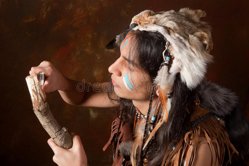 Indien en bois de découpage image stock
