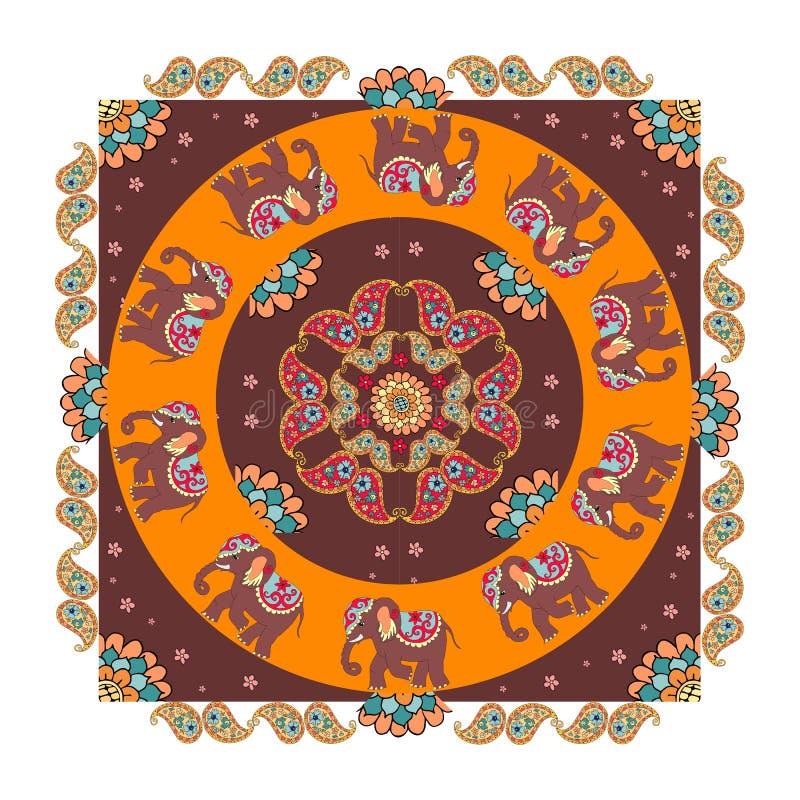 Indien Ethnischer Bandanadruck mit schönen Blumen, Paisley und Elefanten vektor abbildung