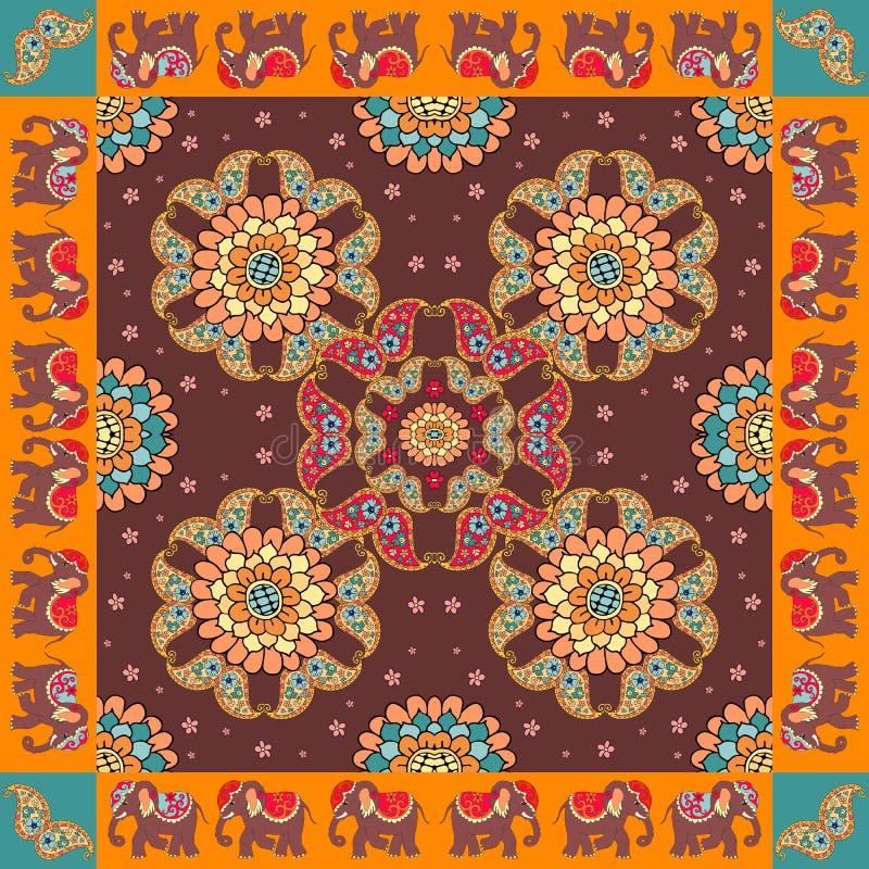 Indien Ethnischer Bandanadruck mit Verzierungsgrenze Silk Halsschal mit schönen Blumen, Paisley und Elefanten vektor abbildung