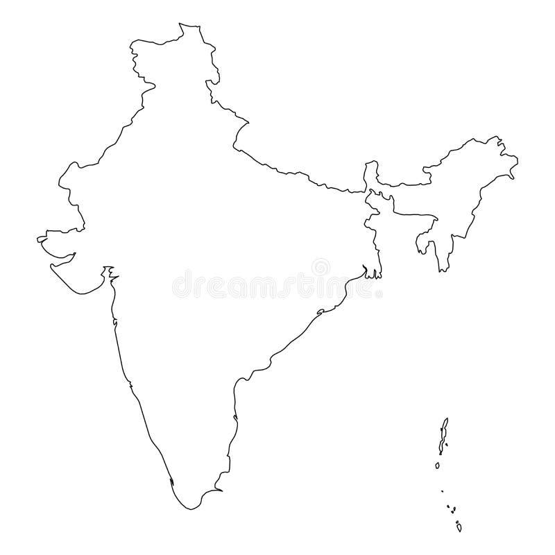 Indien - fast svart översiktsgränsöversikt av landsområde Enkel plan vektorillustration royaltyfri illustrationer