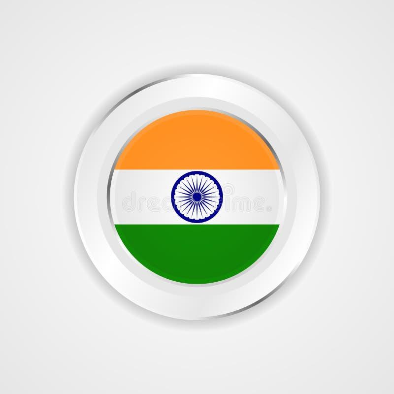 Indien flagga i glansig symbol vektor illustrationer