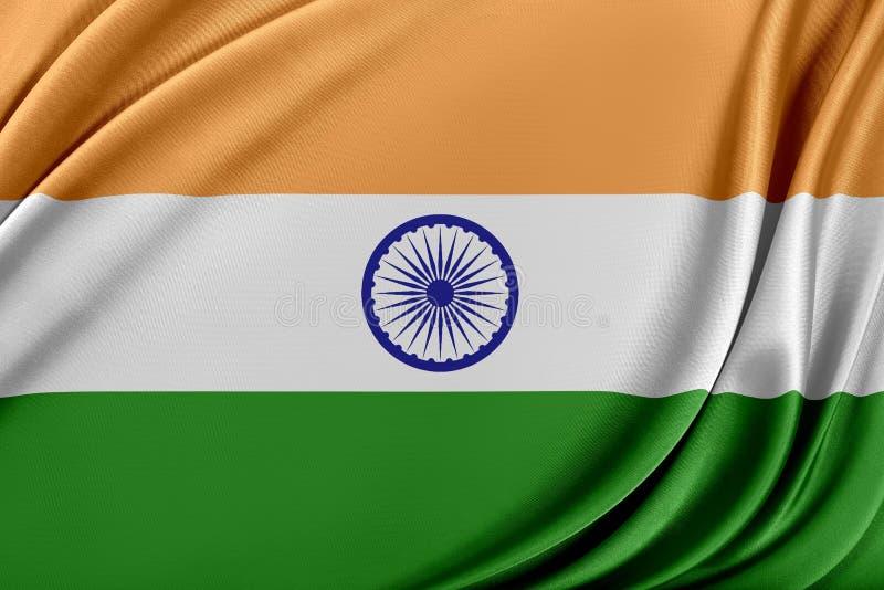 Indien flagga med en glansig siden- textur stock illustrationer