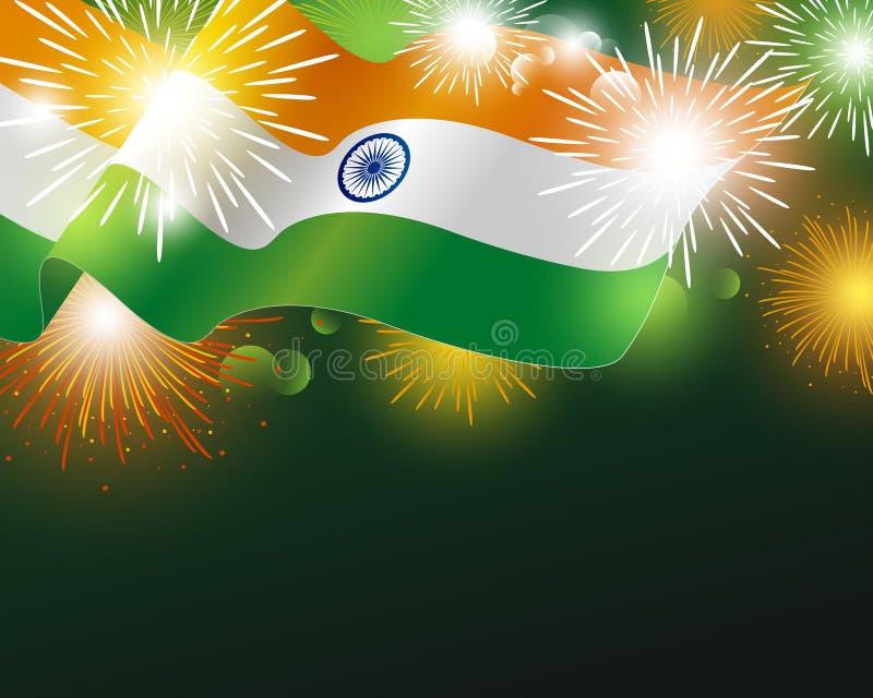 Indien flagga med illustrationen för fyrverkeribakgrundsvektor royaltyfri illustrationer