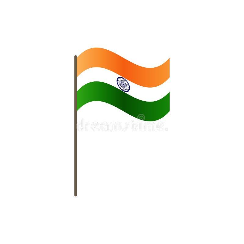 Indien flagga på flaggstången Representantfärger och proportion korrekt Vinka av den Indien flaggan på flaggstång, vektorillustra vektor illustrationer