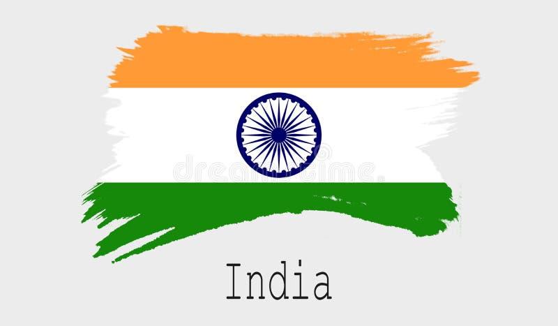 Indien flagga på vit bakgrund royaltyfri illustrationer