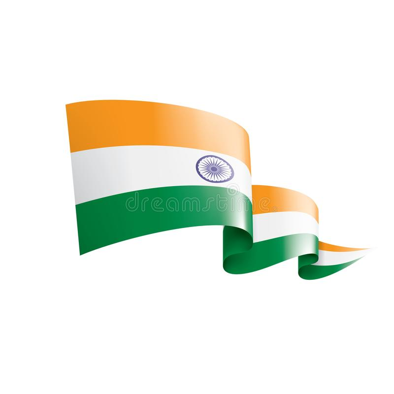 Indien flagga, vektorillustration på en vit bakgrund vektor illustrationer