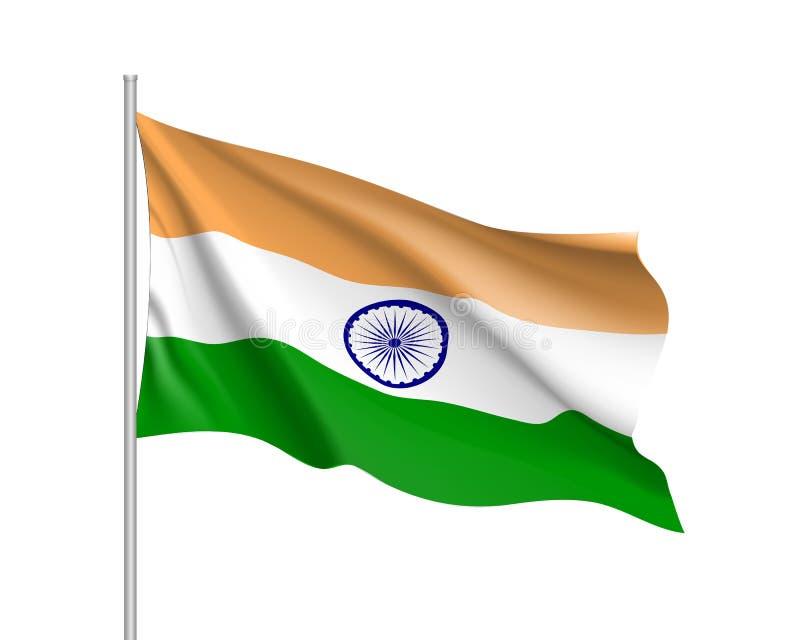 Indien flagga, vektorlägenhetstil stock illustrationer