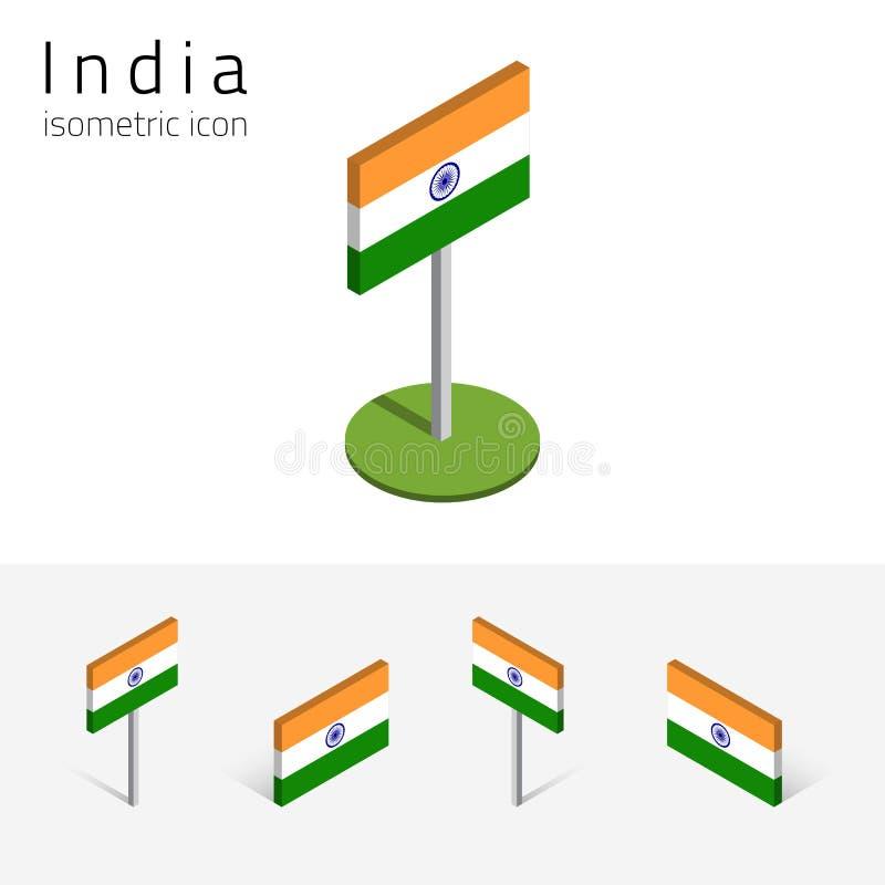 Indien flagga, vektoruppsättning av isometriska plana symboler 3D vektor illustrationer
