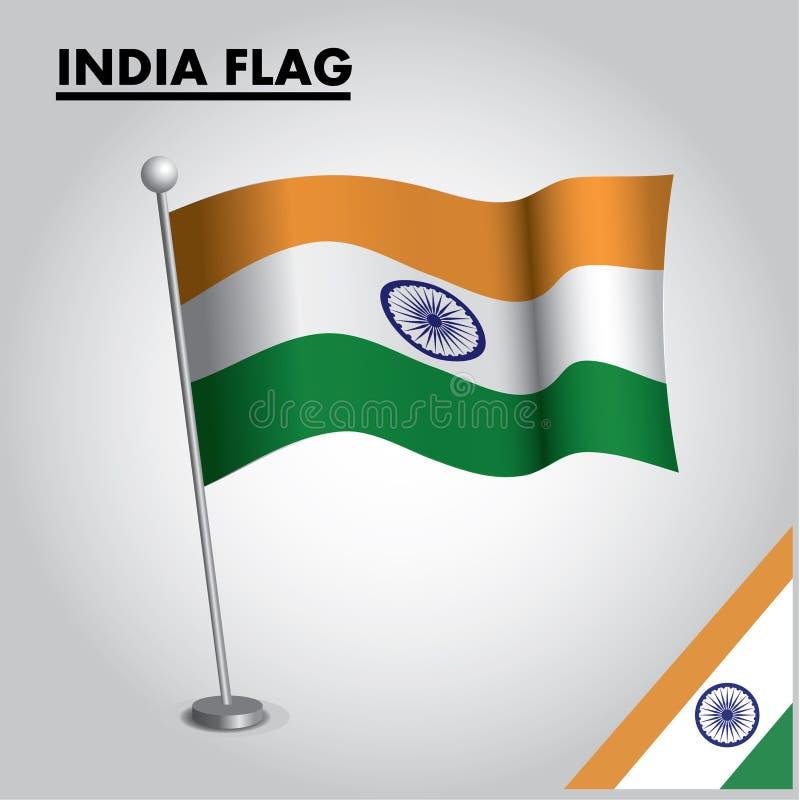 INDIEN flagganationsflagga av INDIEN på en pol stock illustrationer