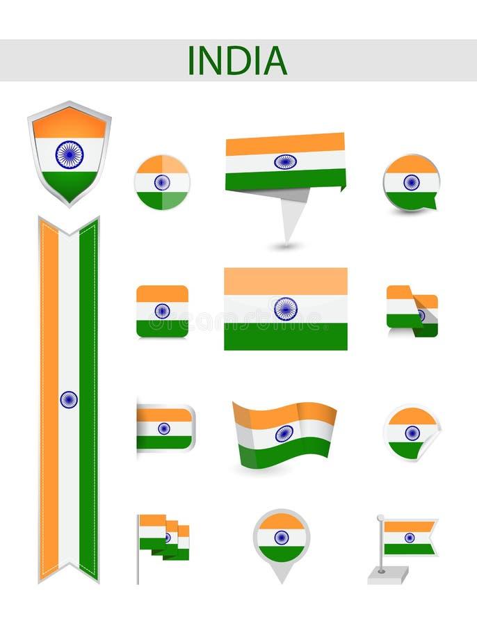 Indien flaggasamling vektor illustrationer