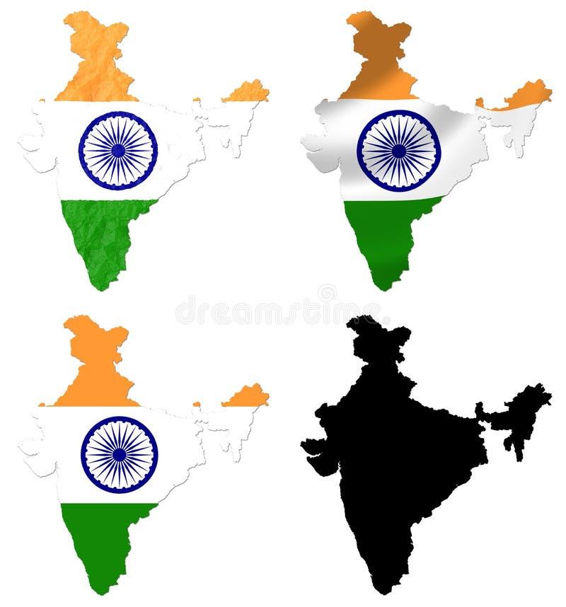 Indien-Flagge über Kartencollage lizenzfreie abbildung