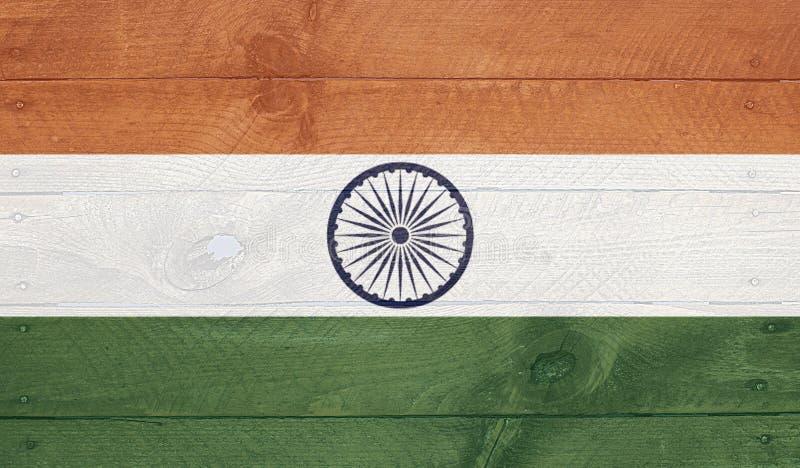 Indien-Flagge auf hölzernen Brettern mit Nägeln lizenzfreies stockbild