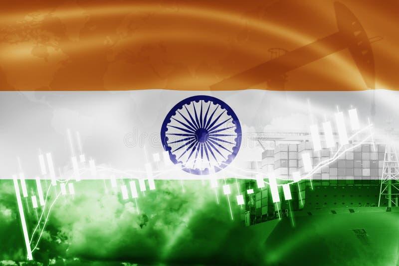 Indien-Flagge, Börse, Austauschwirtschaft und Handel, Erdölgewinnung, Containerschiff im Export und Importgeschäft und Logistik vektor abbildung