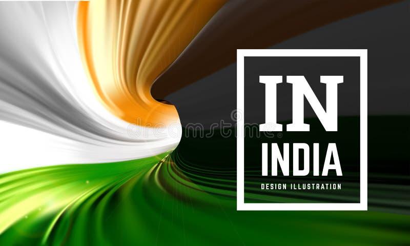 Indien-Flagge in Form eines Wickelfalzrohrs Innere Ansicht Auch im corel abgehobenen Betrag stock abbildung