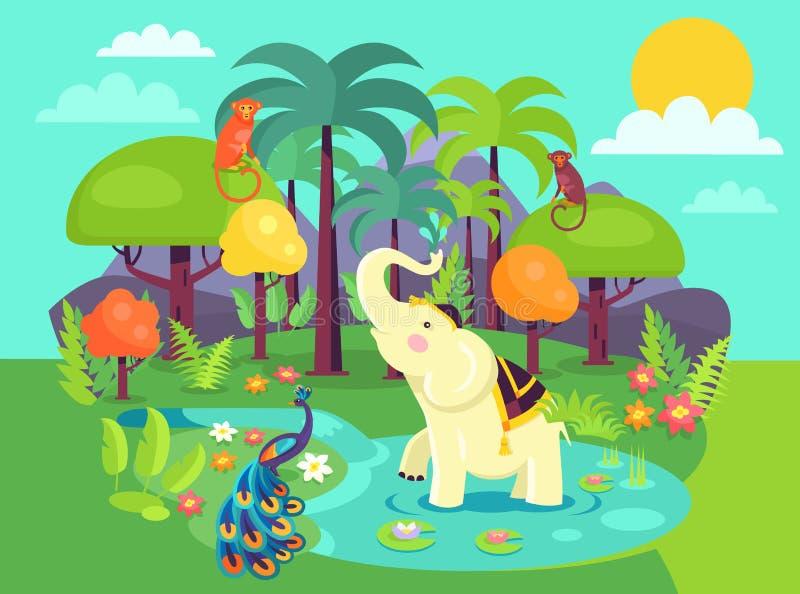 Indien Flora et illustration de vecteur de bande dessinée de faune illustration libre de droits