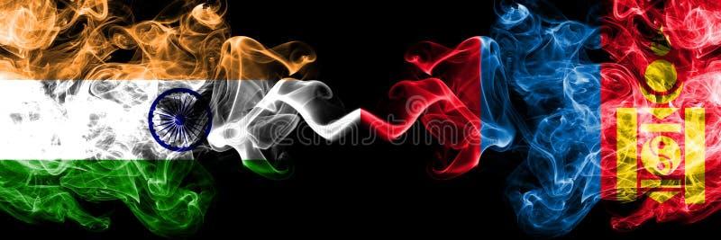 Indien gegen Mongolei, mongolische Rauchflaggen nebeneinander gesetzt Dicke farbige seidige Rauchflaggen des Inders und der Mongo lizenzfreie stockfotos