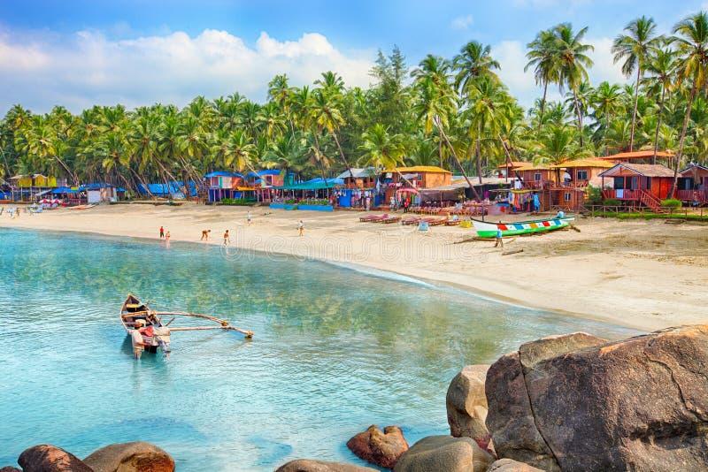 Indien Goa, Palolem strand arkivfoton
