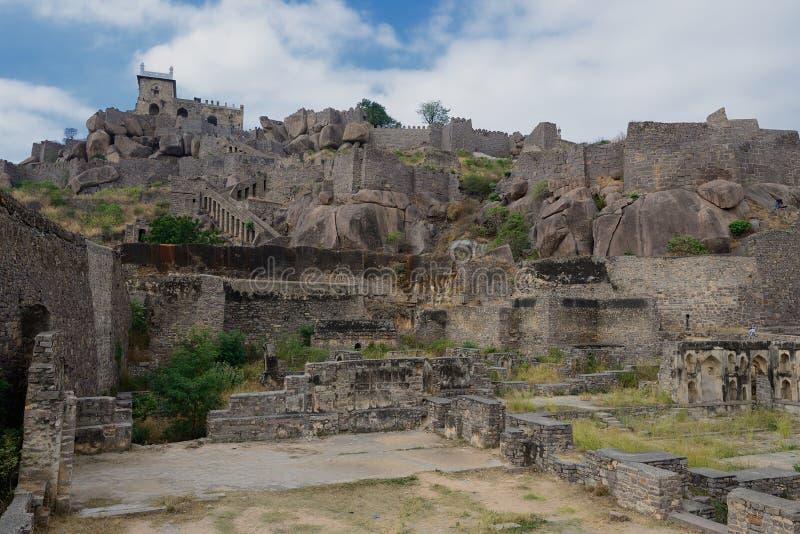 Indien, Golconda Fort i Hyderabad arkivbild