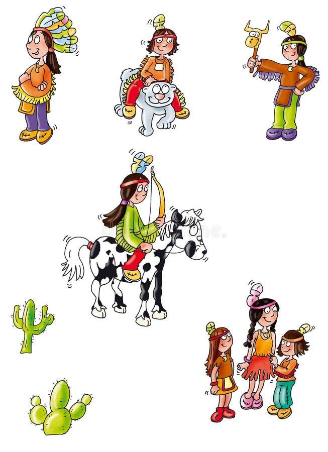Indien indien de kaktus de famille de cheval de mascotte illustration de vecteur