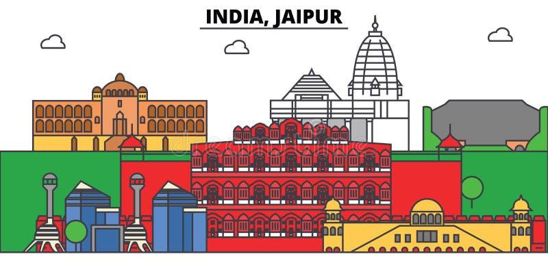 Indien Jaipur, Hinduism Stadshorisont, arkitektur, byggnader, gator, kontur, landskap, panorama, gränsmärken vektor illustrationer