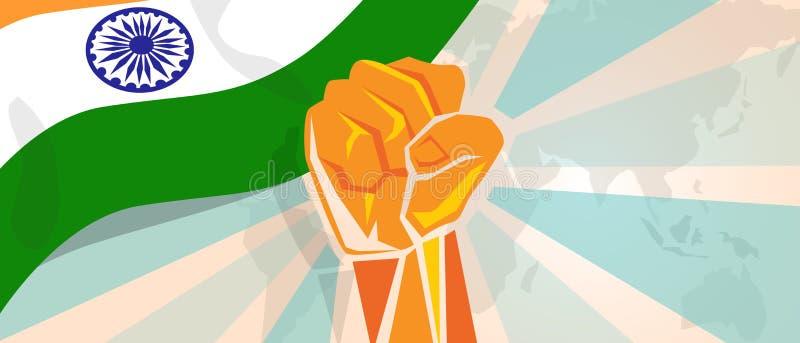 Indien-Kampf- und -protestunabhängigkeitskampfaufstand zeigen symbolische Stärke mit Handfaustillustration und -flagge lizenzfreie abbildung
