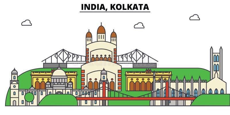 Indien, Kolkata, Hinduismus Stadtskyline, Architektur, Gebäude, Straßen, Schattenbild, Landschaft, Panorama, Marksteine stock abbildung
