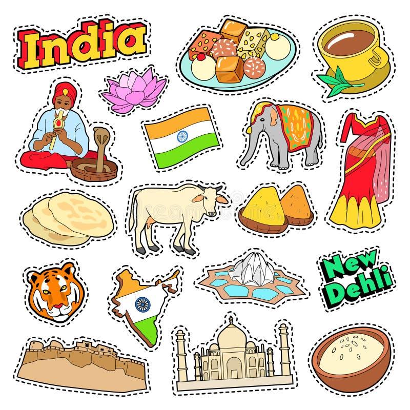 Indien loppbeståndsdelar med arkitektur och Lotus stock illustrationer