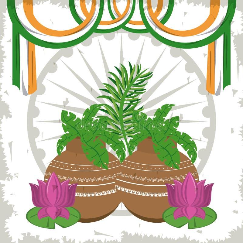 Indien lotusblommablommor i krukor med flaggor royaltyfri illustrationer