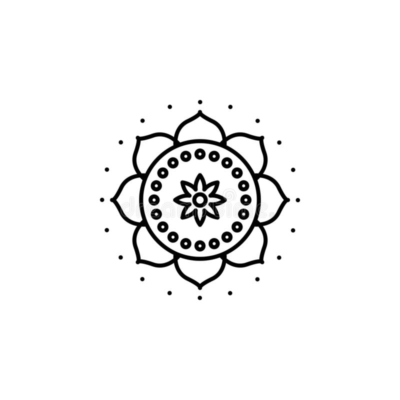 Indien mandalasymbol Beståndsdel av den Indien kultursymbolen Tunn linje symbol för websitedesignen och utveckling, app-utvecklin stock illustrationer