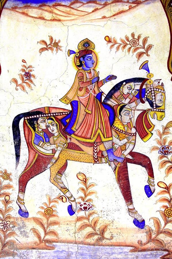 Indien, Mandawa: bunte Freskos vektor abbildung