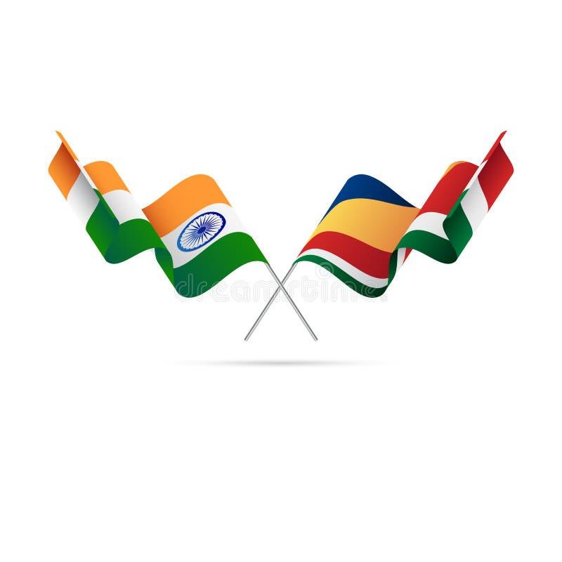 Indien och Seychellerna flaggor också vektor för coreldrawillustration royaltyfri illustrationer