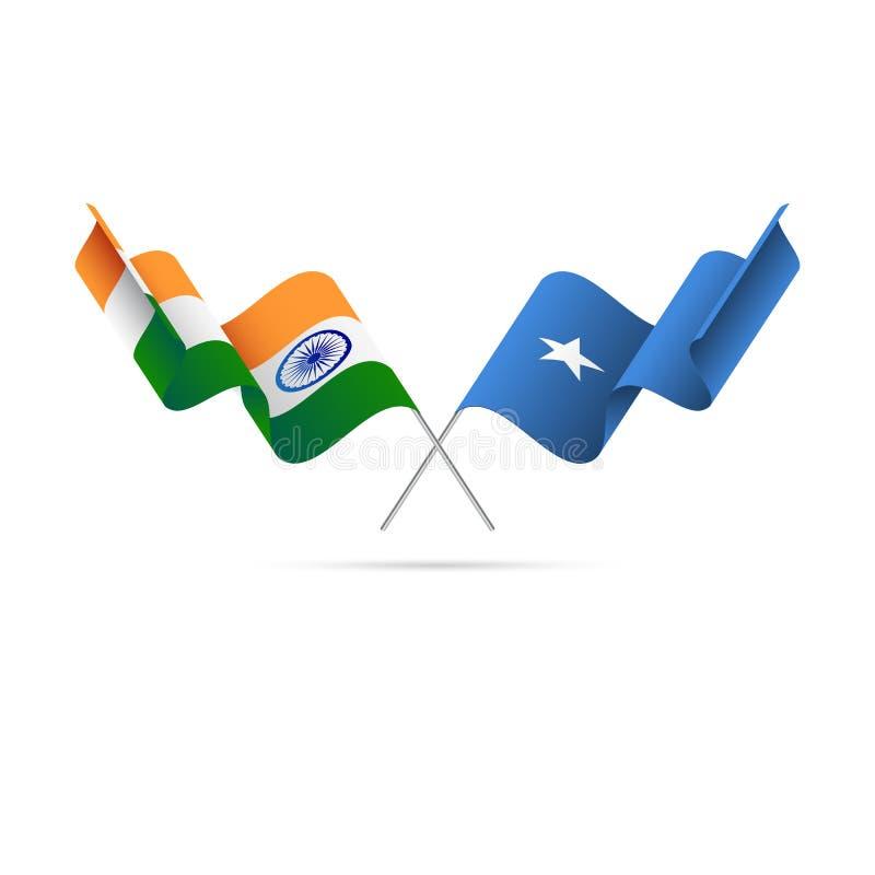 Indien och Somalia flaggor också vektor för coreldrawillustration vektor illustrationer