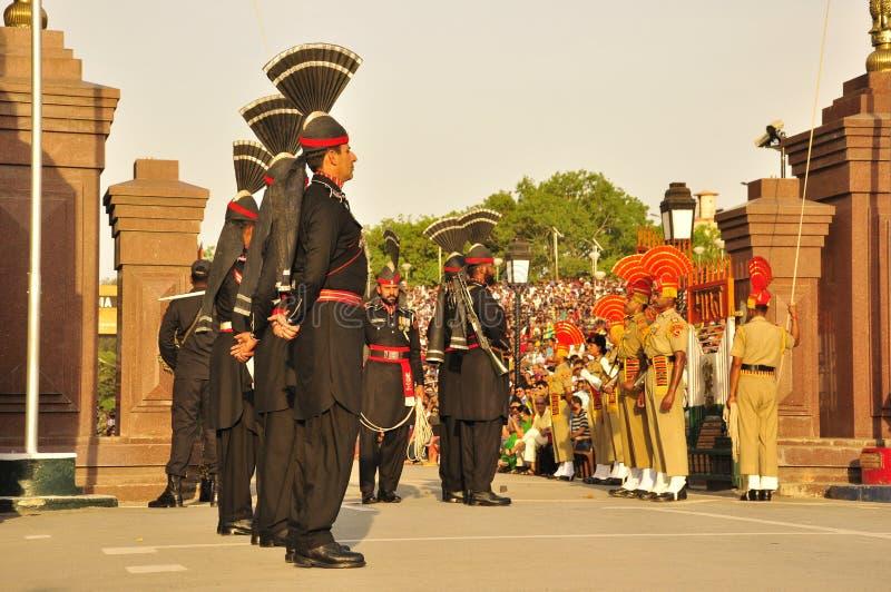 Indien Pakistan Waga gräns royaltyfri foto