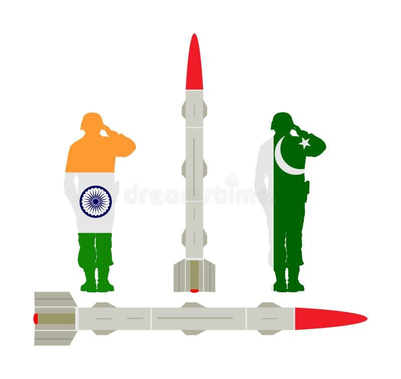 Indien-Rakete Rocket mit Atombombe gegen Kernkraft Pakistans Kriegsdrohung Leistungsfähige Armeewaffe für Kampf Tag des Jüngsten  lizenzfreie abbildung