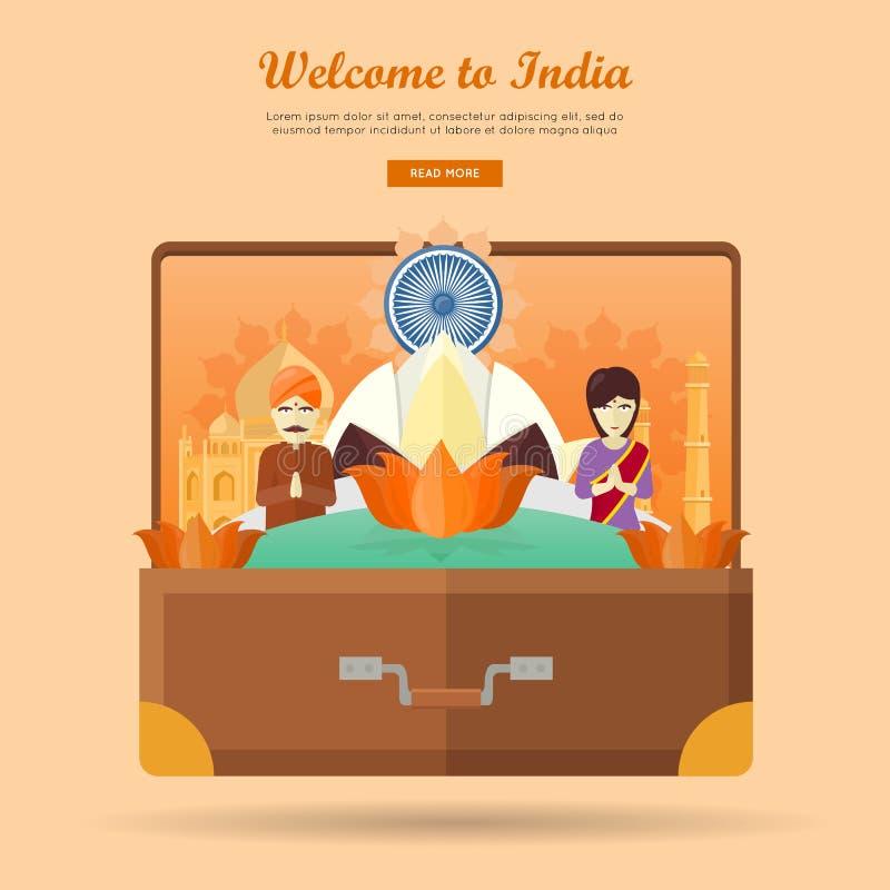 Indien-Reise-Fahne Indische Marksteine im Koffer lizenzfreie abbildung