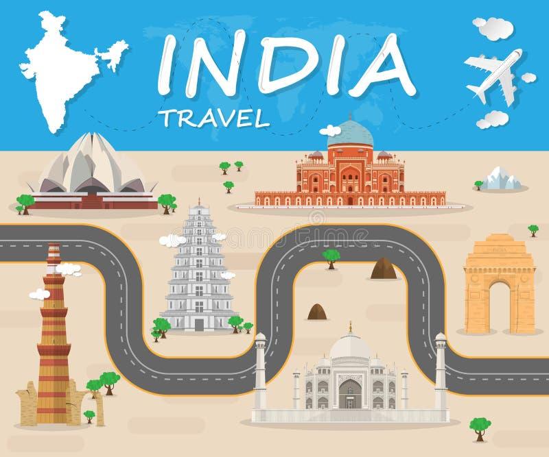 Indien-Reise Ikone Reiseikonenvektor Reise Ikonen-Kunst Reise I stock abbildung
